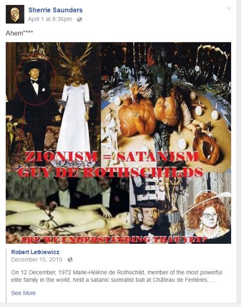 Sherrie Saunders sharing racist propoganda